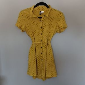 H & M Divided yellow with black hearts top